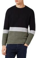 Topman Men's Slim Fit Colorblock Crewneck Sweater
