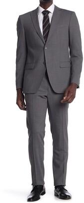 John Varvatos Collection Grey Sharkskin Two Button Notch Lapel Suit
