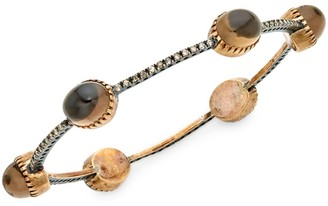 Artisan 10K Gold, Smoky Quartz & Diamond Station Bracelet