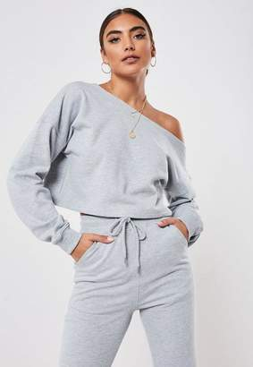 Missguided Gray Co Ord Off Shoulder Slouchy Crop Sweatshirt