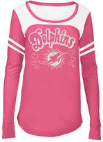 5th & Ocean Miami Dolphins Pink Slub Long Sleeve T-Shirt, Girls (4-16)