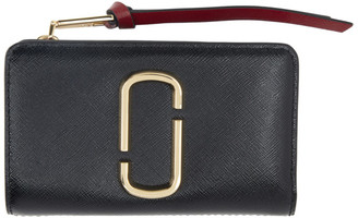 Marc Jacobs Black and Burgundy Snapshot Compact Wallet