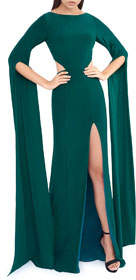 Mac Duggal Draped Long-Sleeve High-Slit Jersey Gown