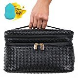 Blush Lingerie Train Case Style Double Zipper Cosmetic Makeup Bag Organizer with Blender Sponge