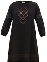 RED Valentino Cut-out Embroidered Crepe Dress - Womens - Black