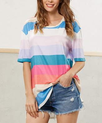 Luukse Women's Tunics 102TEAL/BLUE/CORAL/WHITE - Pastel Stripe Scoop Neck Tee - Women