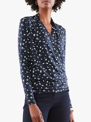 Pure Collection Abstract Print Soft Jersey Wrap Top, Navy Dash