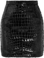 Saint Laurent Croc-effect Faux Leather And Velvet Mini Skirt - Black