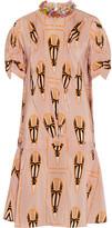 Miu Miu Embellished Printed Silk-chiffon Dress - Blush
