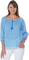 Rafaella 3/4 Sleeve Cap Sleeve Solid Peasant Top