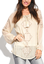 Miss June Beige Geometric Long-Sleeve Top