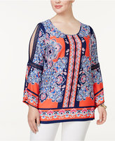 NY Collection Plus Size Printed Cold-Shoulder Tunic