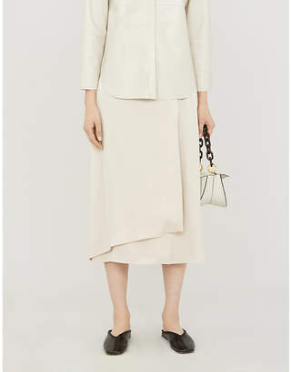 The White Company Wrap-front crepe knee-length dress