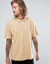 Asos Oversized Pique Polo Shirt In Beige