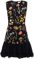 Thumbnail for your product : RED Valentino Paneled Embroidered Tulle And Point D'esprit Mini Dress