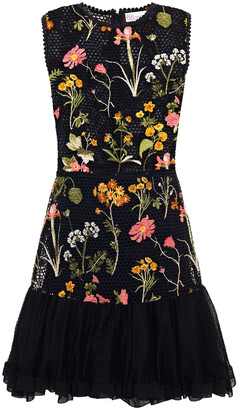 RED Valentino Paneled Embroidered Tulle And Point D'esprit Mini Dress