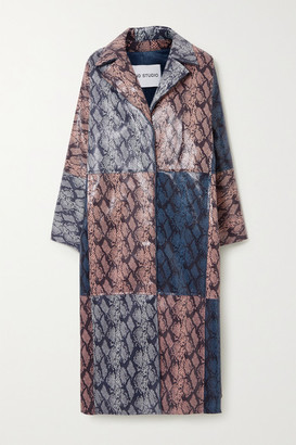 Stand Studio Stacy Patchwork Snake-effect Faux Leather Coat - Gray