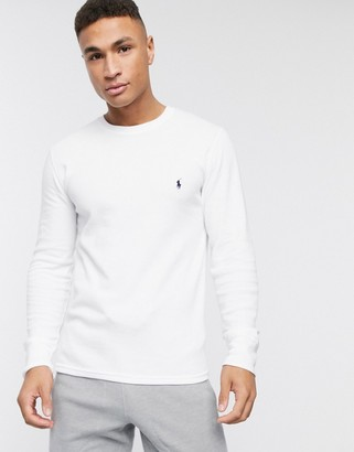Polo Ralph Lauren waffle long sleeve top player logo in white