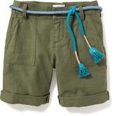 Old Navy Linen-Blend Belted Midi Shorts for Girls