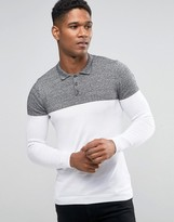 Asos Knitted Color Block Polo in Muscle Fit