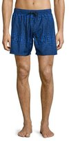Diesel Logo-Print Swim Trunks, Blue
