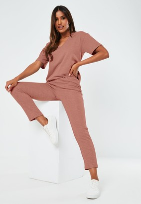 Missguided Terracotta V Neck T Shirt And Joggers Co Ord Set