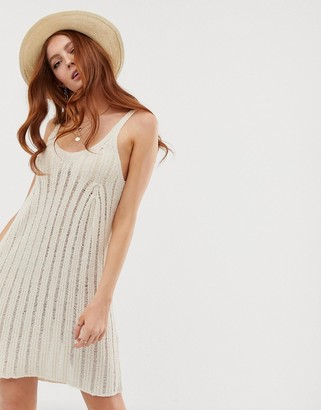 ASOS DESIGN swing dress with ladder stitch in natural look yarn