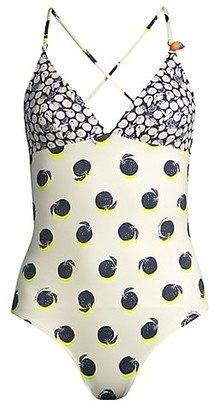Stella McCartney Ruched Oranges Printed One-Piece Swimsuit