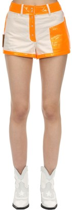 Courreges Contrasting Cotton & Vinyl Shorts