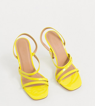 Truffle Collection Wide Fit neon strappy stiletto heeled sandals
