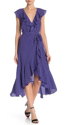 Max Studio Patterned Ruffle Wrap Midi Dress