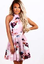 Pink Boutique Fleeting Romance Pink Multi Floral Skater Dress