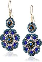 Miguel Ases Quartz and Swarovski Flower Station Drop Earrings