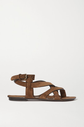 Saint Laurent Culver Nu Pieds Suede Sandals - Tan