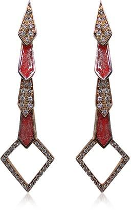 Bernard Delettrez Pink Gold Snake Earrings w/ Diamonds&Salmon Pink Enamel