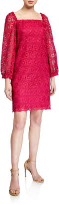 Trina Turk Bottle Square-Neck Long-Sleeve Lace Dress