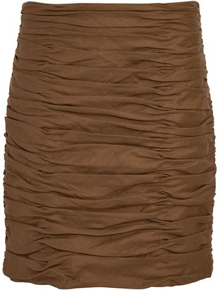 Aiifos Ruby Ruched Linen Mini Skirt