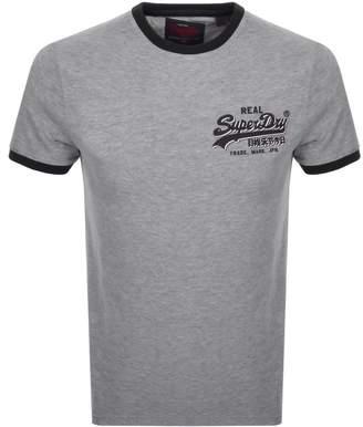 Superdry Vintage Logo Ringer T Shirt Grey