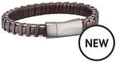 Police Police Mens Brown Leather Weave Magnetic Bracelet
