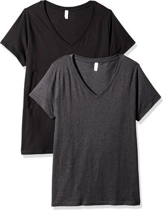 Clementine Apparel Women's Ladies Curvy Plus V-Neck T-Shirt (2 Pack)