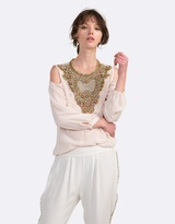 Coco Ribbon Embellished Blouse with Cut-Out Shoulders
