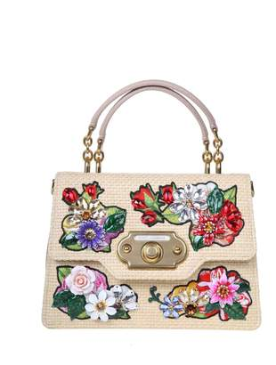 Dolce & Gabbana Welcome Handbag In Raffia And Leather With Floral Details