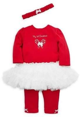 Little Me Baby Girl's 3-Piece Holiday Candy Cane Dress, Leggings & Headband Set