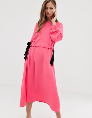 ASOS DESIGN ruched chuck on midi dress in neon