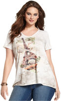 Style&Co. Plus Size Top, Short-Sleeve Printed High-Low