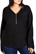 City Chic Zipper V-Neck Sweater