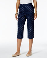 Alfred Dunner Petite Lady Liberty Star-Print Denim Capri Pants