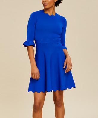 Ted Baker Women's Casual Dresses BLUE - Blue Knit Lauron Fit & Flare Dress - Women