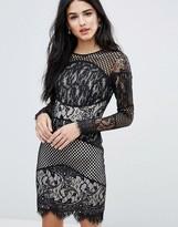 Forever Unique Block Lace Mini Bodycon Dress