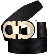 Alex Baby Men's Smooth Leather Buckle Belt 35mm Leather up to 42inch (105-115cm for Choose)